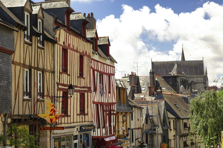Vannes, France - June 29, 2005: Vannes (Morbihan, Brittany, France): old typical half-timbered buildings